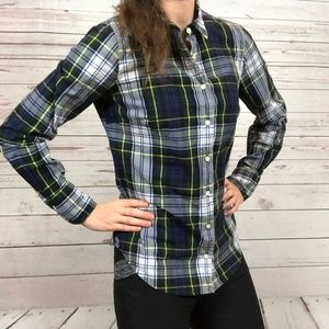 J. Crew Perfect Blue Green Plaid Shirt - G1